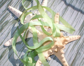 beautiful ~ sea glass ~ handmade silk ribbon 24 yds  destash ~ sale