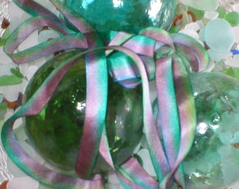 delightful ~ sea urchin ~ handmade silk ribbon 21 yds  destash ~ sale