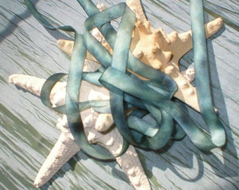 mysterious ~ sea witch ~ handmade silk ribbon 19 yds  destash ~ sale