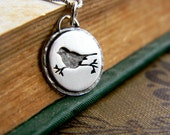 Tiny silver song bird, hand made every day wear, sweet, light, nature, silhouette,