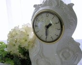 Ironstone Creamware Ceramic Electric Mantel/Table Clock
