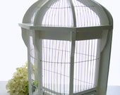 Vintage Wall or Table Birdcage Bird Cage Cottage White HUGE Gazebo-design