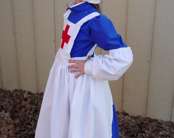 Nightengale, Barton, Red Cross Blue -Royal Blue Civil War Nurse- Child Sizes