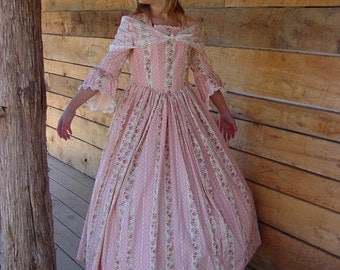 WeHaveCostumes Handmade Historical Civil War Costume Victorian Colonial Pioneer Girl Dress -Pink Felicia-Child