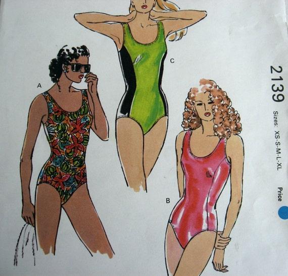 PIF listing  Kwik Sew 2139 Swimsuit pattern, princess seams