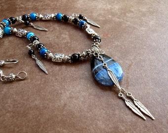 Southwest Blue Geode Druzy Onyx Agate Necklace Wire Wrapped