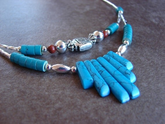 Turquoise Fan Southwest Double Strand Necklace