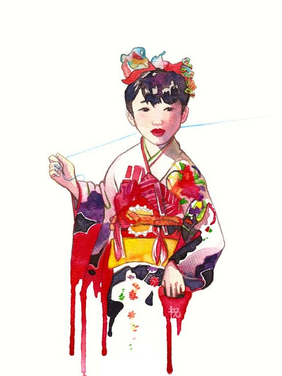 Kite Original Mixed Media Japanese painting