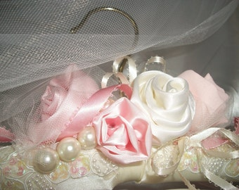 Bridal Padded Hanger,  Wedding Dress Hanger,   Pinks / Ivory, Bling,  Couture Detailing, Fabric Flowers, Beautiful, Unique !