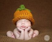 Knit Pumpkin Baby Hat, Pumpkin-Halloween, Newborn Knit Hats
