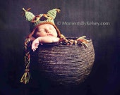 Baby Owl Hat - Newborn - SAGE GREEN