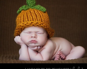Newborn Baby Hat, Orange Fall Pumpkin Hat  - Photo Prop
