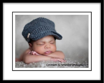 Baby Cap with Brim, Grey, Newborn