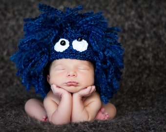 Monster Hat, Baby Hat, Animal Hat, Crochet Baby Hat, Photo Prop, Blue, White, Black 3-6 Months