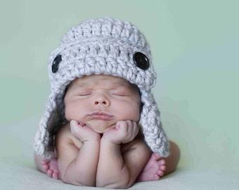 Aviator Hat, Baby Boy Hat, Bomber Hat, Earflap Hat, Crochet Hat, Photo Prop, Light Grey