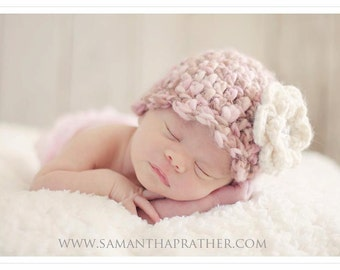 Crochet Baby Hat Beanie Flapper Girl Scallop Edge Rose