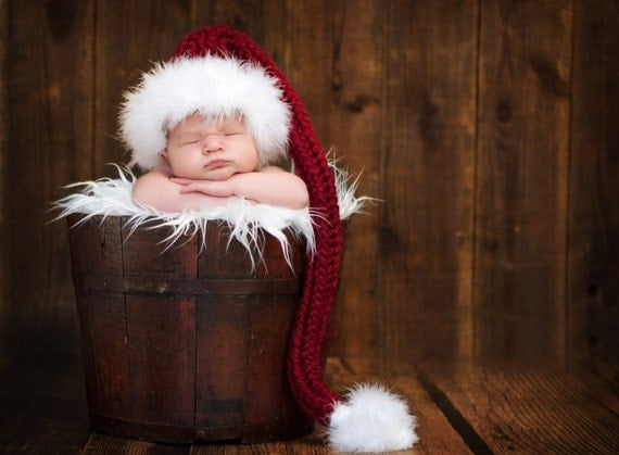 Christmas Baby Hat, Holiday hats, Photo Prop, Stocking Cap with Fur Trim - Garnet, Red and White