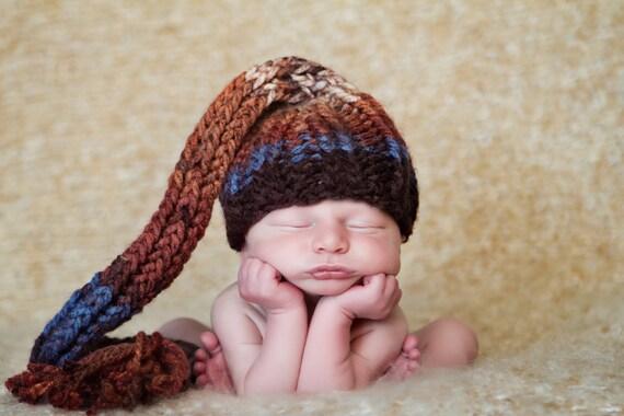Newborn Elf Hat in Shades of Rust and Brown, Newborn 0-3 Months Boy Girl