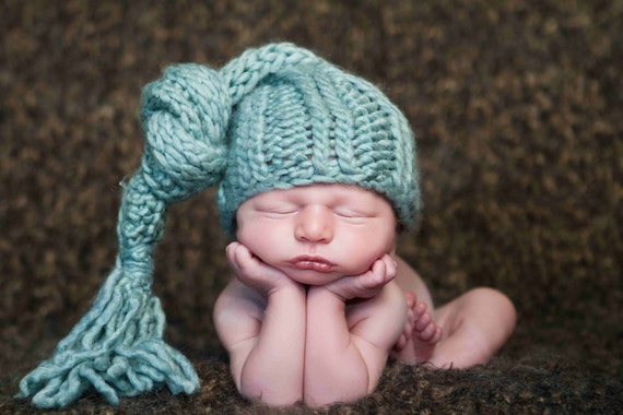 Baby Knit Cap, Pixie Elf Newborn Hat, Baby Photography Prop, Shades of Green, Turquoise, and Blue 0-3 Months Boy Girl