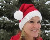 Ho Ho Ho - Hand Knit Santa Hat for Men or Women