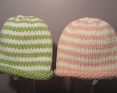 Knitted Baby Hats - Hand Knit Hats for Twins, Pink and White and Green and White Stripes