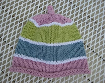 Knitted Baby Hat, Pink Green Blue Pastel Striped Knitted Baby Hat