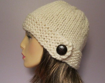 Knit Hat - White Chunky Hand Knit Hat with Genuine Leather Dark Brown Button