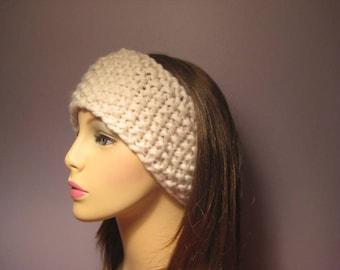 Headband Earwarmer, Hand Knit Headband in Cream White - Thick and Warm
