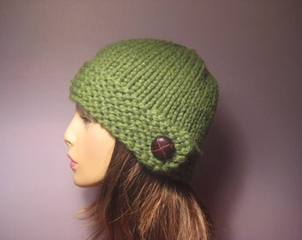 Knit Hat - Green Chunky Knit Hat with Genuine Leather Button