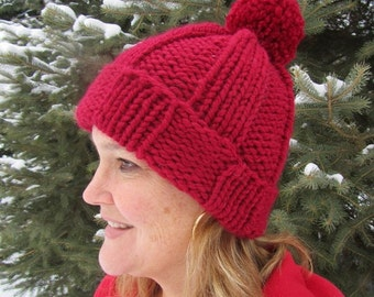 Knit Hat - Hand Knit Red Fun Thick Warm Knit Hat with Large Pom Pom