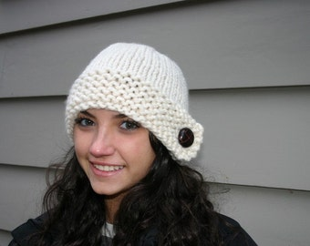 Knit Hat - White Chunky Knit Hat with Genuine Leather Button