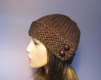 Knit Hat - Warm Brown Chunky Stylish Knit Hat with Genuine Leather Buttons - Winter Hat