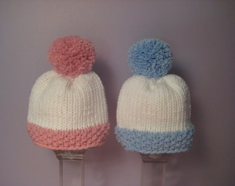 Knitted Baby Hats - Hand Knit Hats for Twins, Blue and White and Pink and White with Big Pom-Poms