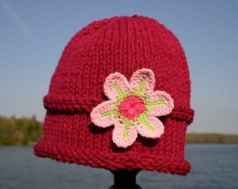 Knitted Baby Hat - Deep Pink Hand Knit Baby Hat with Flower