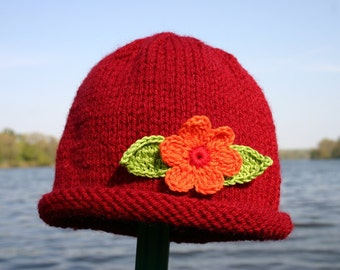 Knitted Baby Hat - Red Hand Knit Baby Hat with Flower