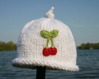 Knitted Baby Hat - Red Cherries on White Hand Knit Baby Hat