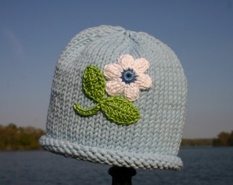 Knitted Baby Hat - Blue Hand Knit Baby Hat with Flower