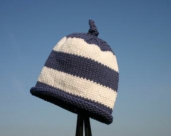 Knitted Baby Hat - Blue and White Striped Hand Knit Baby Hat