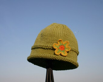 Knitted Baby Hat - Green Hand Knit Baby Hat with Yellow Flower