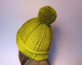 PATTERN Folded Brim Ribbed Knit Hat with Pom Pom, PDF Knit Hat Pattern