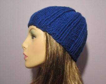Blue Hand Knit Hat - Worn 2 Ways