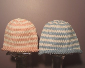 Knitted Baby Hats - Hand Knit Hats for Twins, Blue and White and Pink and White Stripes
