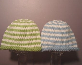 Knitted Baby Hats - Hand Knit Hats for Twins, Blue and White and Green and White Stripes