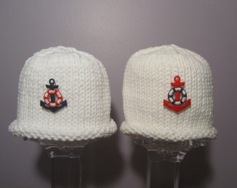 Knitted Baby Hats - Sailor Hats for Twins
