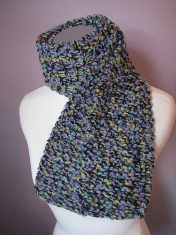 Knitted Scarf - Soft and Versatile Black, Purple, Blue, and Green Scarf