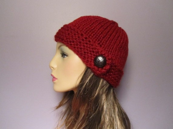 Knit Hat - Red Thick Soft Hand Knit Hat with Genuine Leather Dark Brown Button