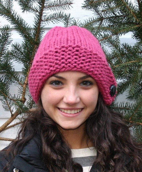 Knit Hat - Pink Chunky Knit Hat with Genuine Leather Button