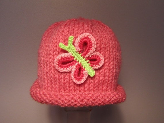 Knitted Baby Hat - Butterfly Baby Hat in Pink