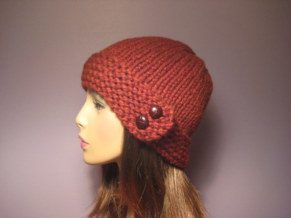 Knit Pattern Beanie With Brim : PATTERN Button Brim Knit Hat PDF by UpNorthKnits on Etsy