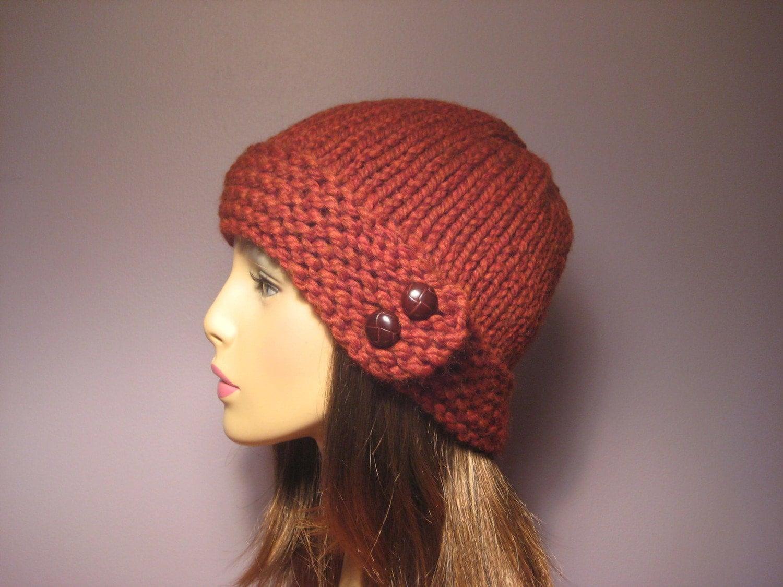 Knitting Pattern Hat With Button : PATTERN Button Brim Knit Hat PDF